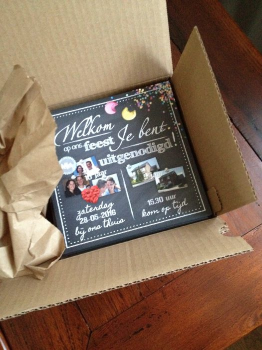 mm-uitnodiging kaarten drukwerk in een doos